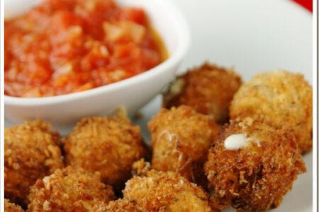 Fried Mozzarella Balls with Spicy Tomato Sauce