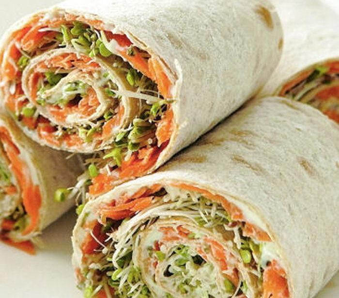 Healthy Snack Recipes - Veggie Lavash Rolls