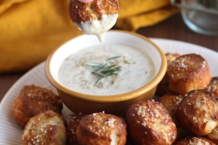 Rosemary Pretzel Bites with Honey Mustard Dipping Sauce