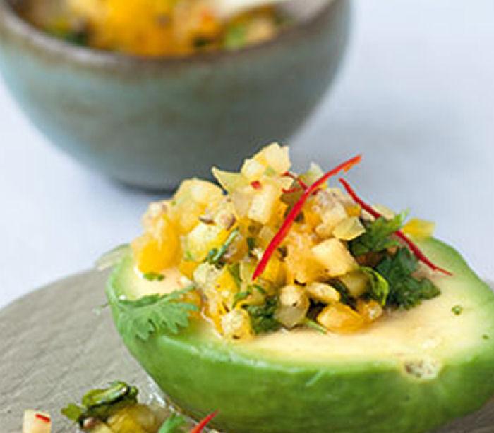 Avocado with Caribbean Pineapple Salsa