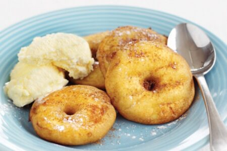 Apple Doughnuts with Ice Cream - Sweet Snacks