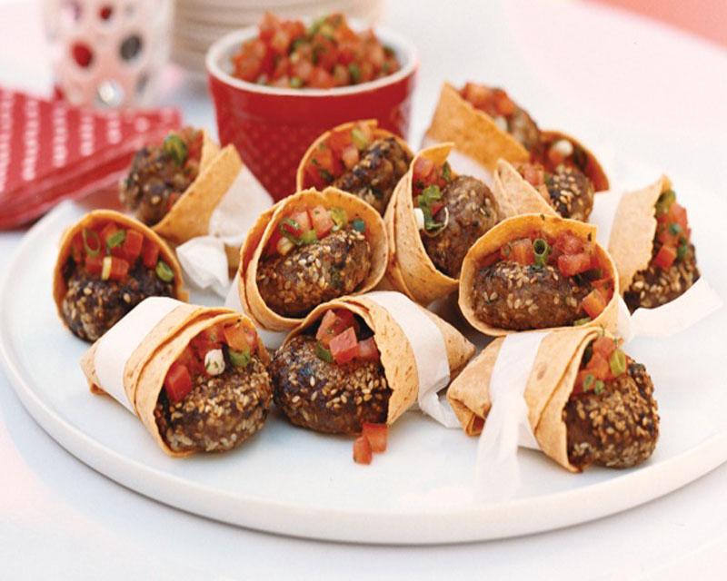Beef Patties in Tortilla Pockets