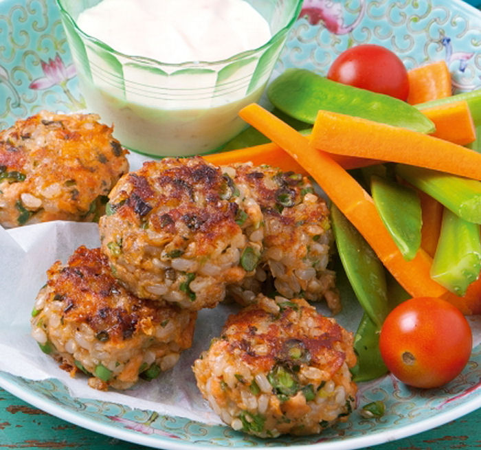Brown Rice and Salmon Patties - Healthy Snack Recipes