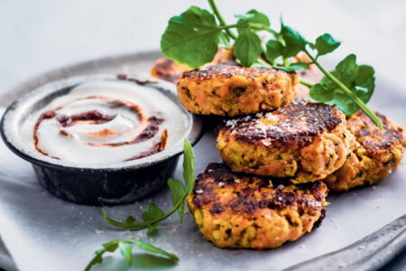 Veggie Carrot Cake with Chilli Yogurt - Easy Snacks to Make